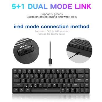 Teclado Bluetooth 3,0 RK855 68-Key modo Dual inalámbrico azul rojo marrón eje 68-key Gaming juegos Teclado mecánico para ordenador