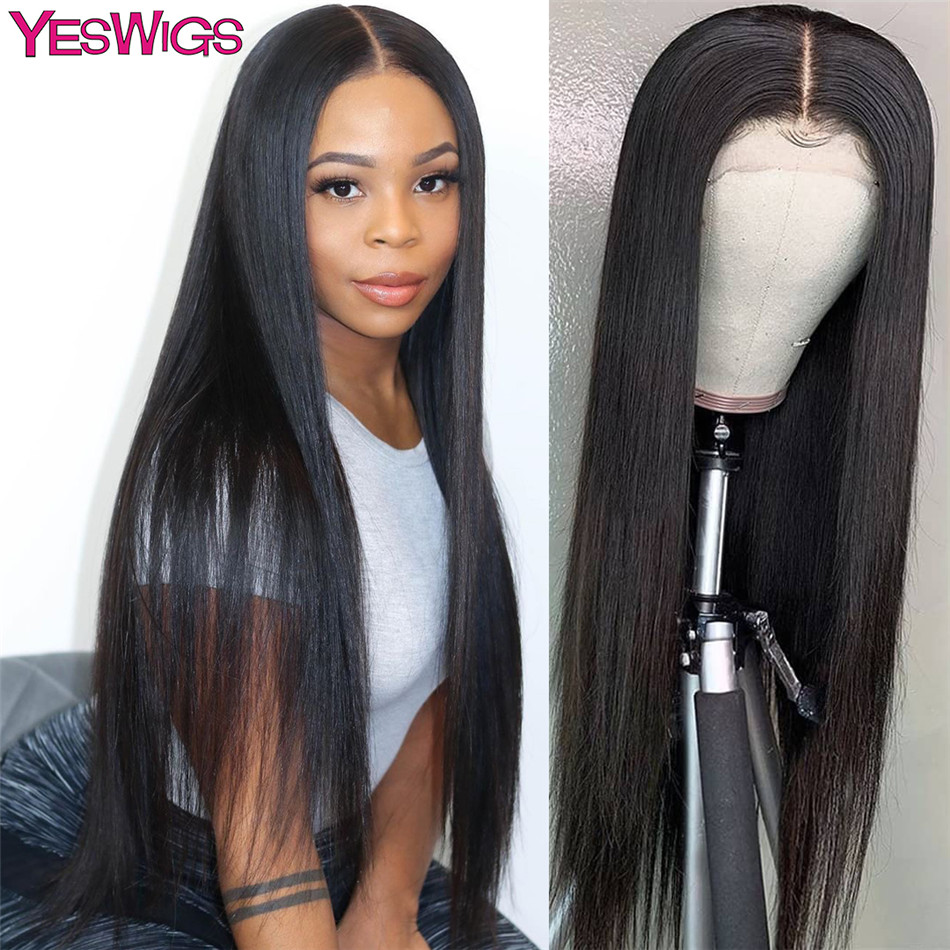 Straight Human Hair Wig Closure Wigs For Black Women 28 30 Inch Lace Front Wig Remy 150% Density Peruvian 4x4 Closure Wig
