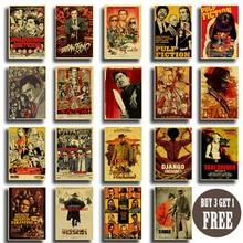 Quentin Tarantino película póster colección papel Kraft clásico póster hogar dormitorio decoración clásico adhesivo con diseño de película para pared