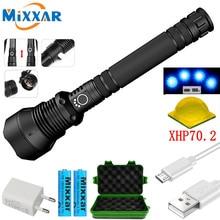 Livraison directe LED lampe de poche tactique XHP70.2 Super lumineux étanche Zoomable torche 3 Modes Camping en plein air USB lampe lanterne