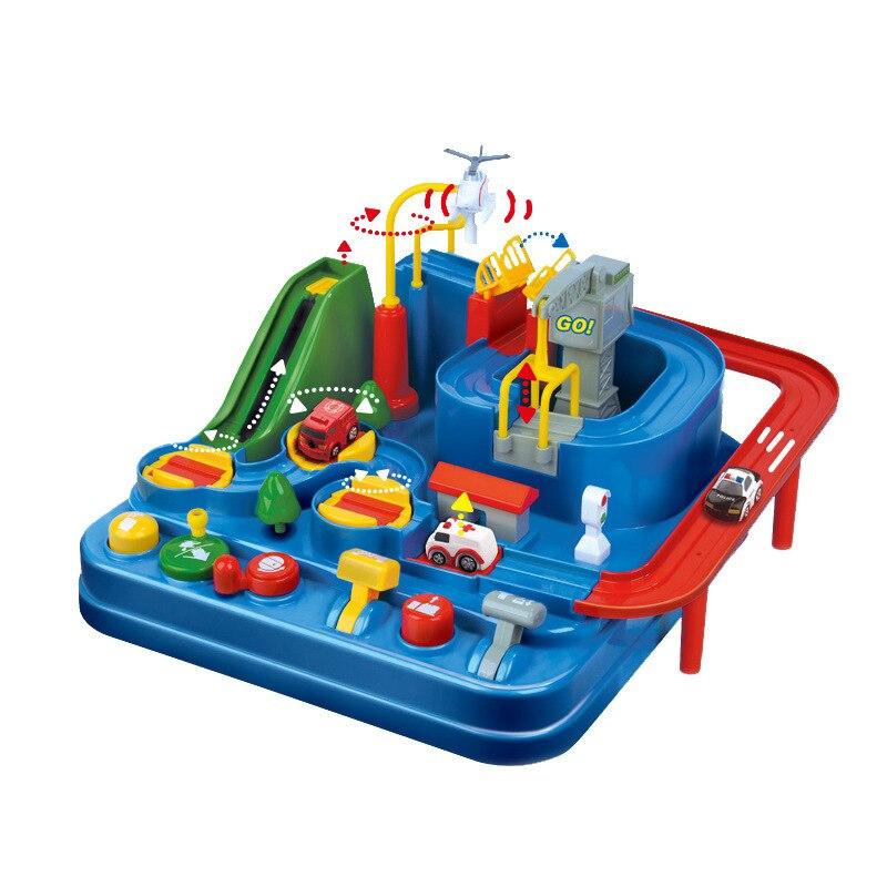 Voiture manuelle aventure piste jouets pour enfants véhicules de sauvetage éducatifs aventure jouets Parking Simulation cadeau pour garçon Chri