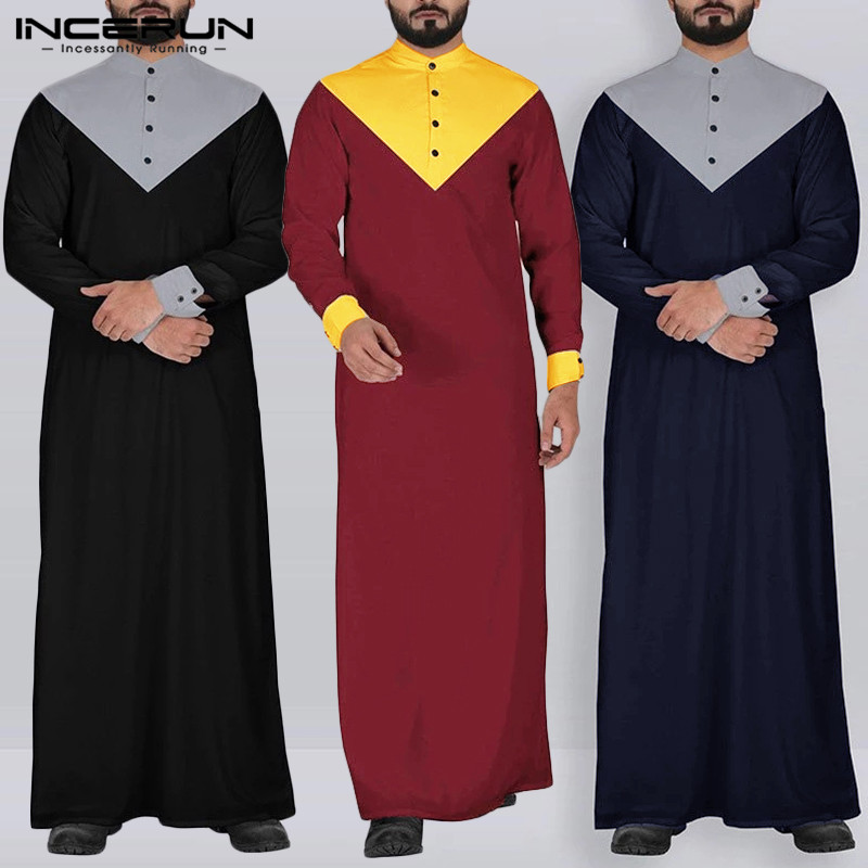 INCERUN Men Patchwork Long Sleeve Muslim Kaftan Tops Fashion Casual Abaya Jubba Thobe Vintage Robe Gown Streetwear Maxi Dress