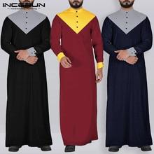 Incerun homem retalhos manga longa muçulmano kaftan topos moda casual abaya jubba thobe vintage robe vestido streetwear maxi vestido 7