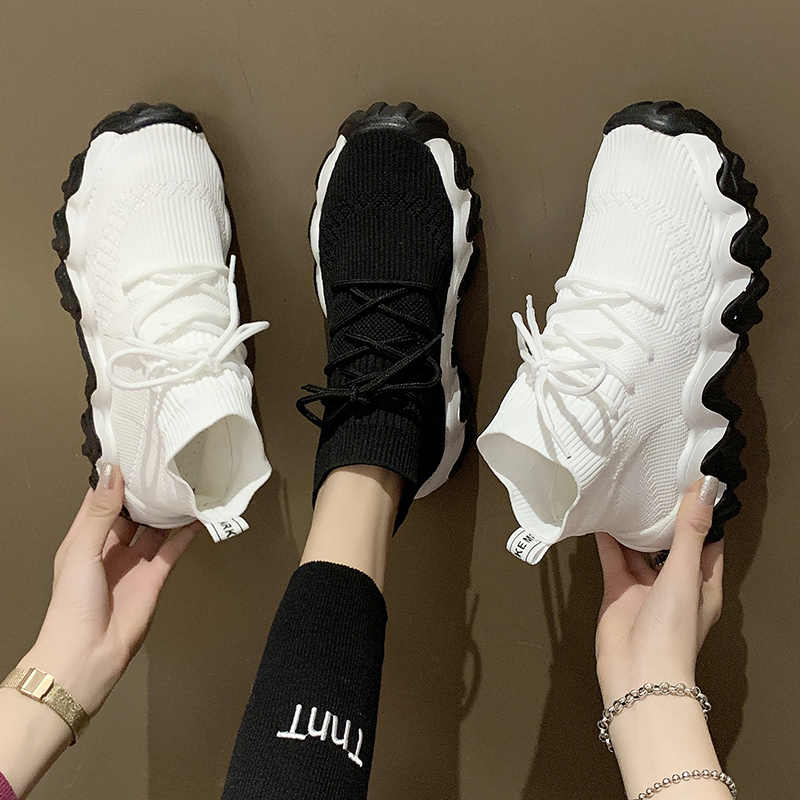 Black White high top Knitted Stretch
