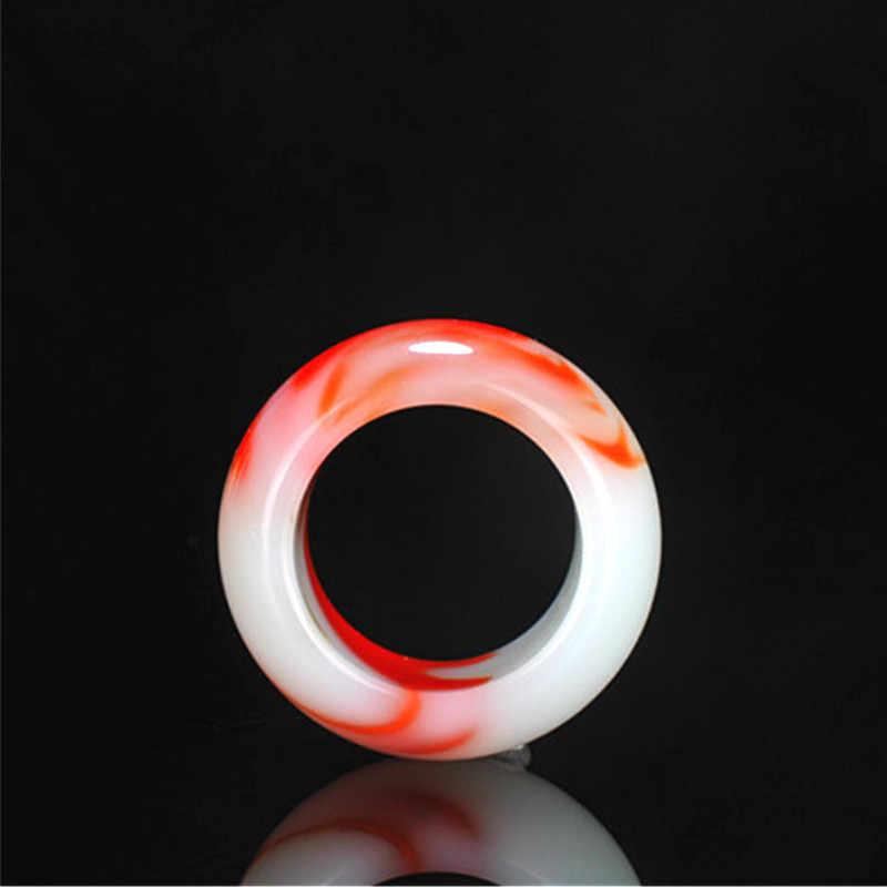 ธรรมชาติสีแดงสีขาว Hetian หยกแหวนจีน Jadeite Amulet แฟชั่น Charm เครื่องประดับแกะสลักงานฝีมือของขวัญสำหรับผู้หญิงผู้ชาย