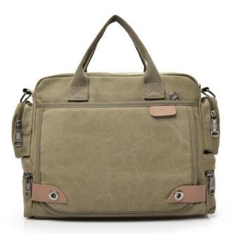 Casual Men Business Briefcase Durable Canvas Shoulder Crossbody Bag Mens Multi Layer Simple Style Handbag Bolso Hombre DF376
