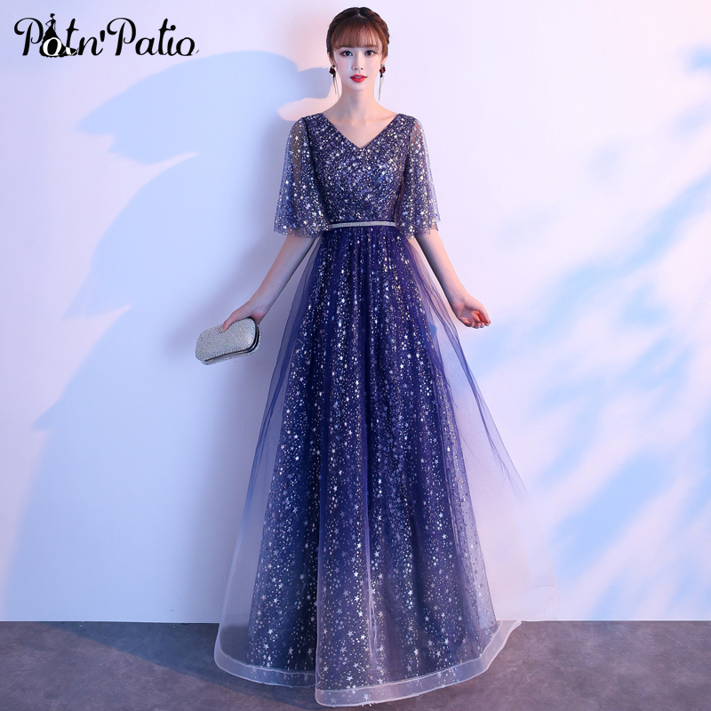 Shiny Sequin Star Evening Dresses Long Elegant V-neck A-line Floor-length Navy Blue Prom Gowns With Cap Sleeves Plus Size