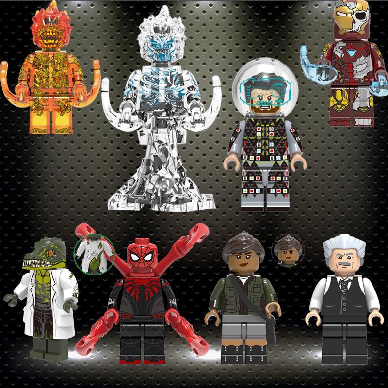 Ed Building Blocks Super Heroes Bricks Lizard FireElemental Michelle Jones Spider-Man Mysterio Figures Gift Toys Child X0268