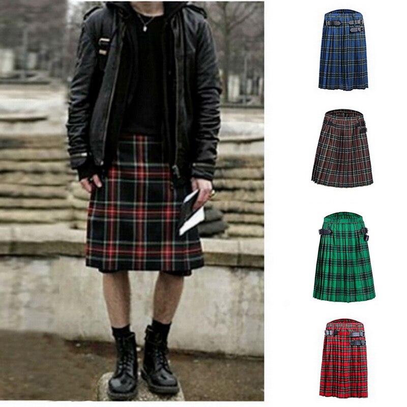 CYSINCOS Scottish Mens Kilt Traditional Plaid Belt Pleated Bilateral Chain Brown Gothic Punk Scottish Tartan Trousers Skirts