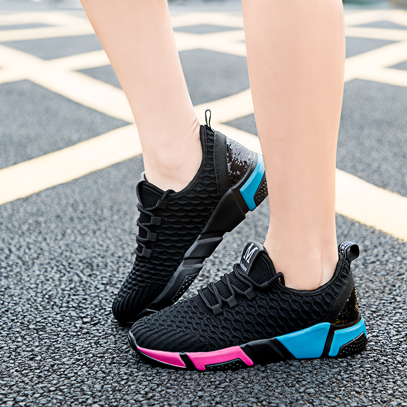 kakafashion Small White Sports and Leisure Walking Shoes Women mesh Breathable Thick-Soled Sequins Student Running Shoes EU35-39
