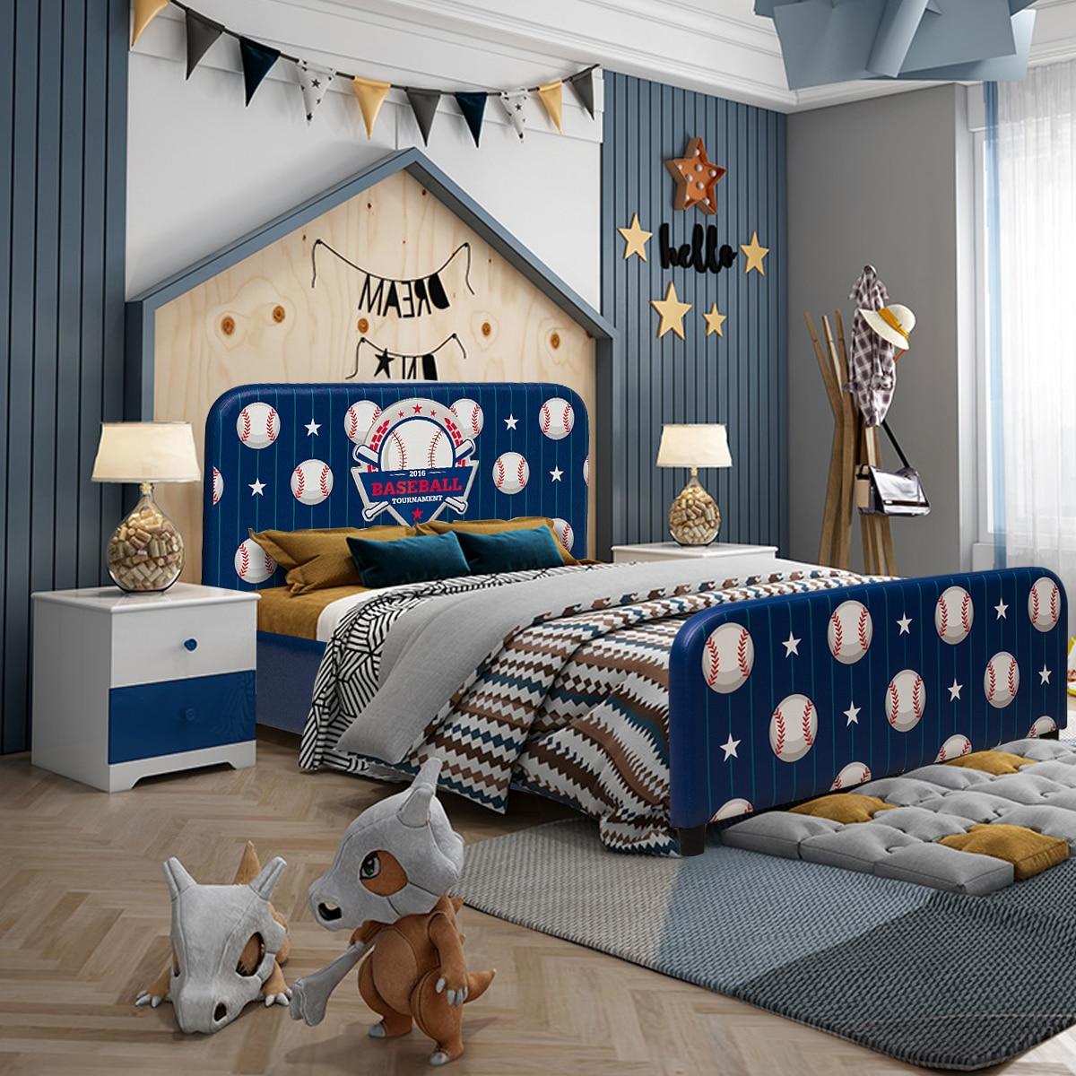 Costway Kids Children Upholstered Platform Toddler Bed Bedroom Furniture Ball Pattern
