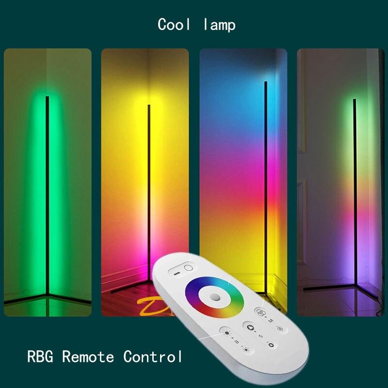 Современный минималистичный RGB угловой напольный светильник для гостиной, стоячий светильник, светодиодный пульт дистанционного управления, напольный светильник для спальни, крутая лампа для домашнего декора|Напольные лампы|   | АлиЭкспресс