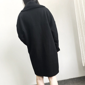 Image 2 - Abrigo largo de lana de invierno a la moda para mujer, abrigo de mezcla de lana con doble botonadura y chaqueta con cuello vuelto