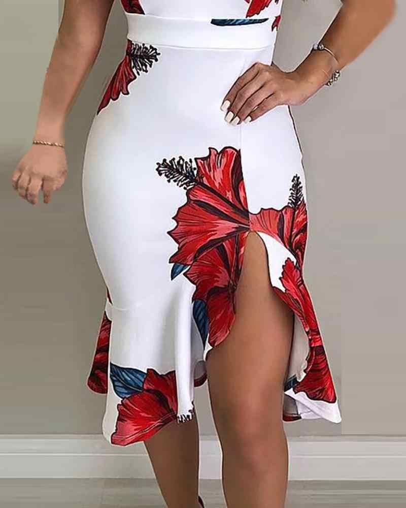2019 新ファッションエレガントスリムボディコンセクシーなパーティービーチドレスノースリーブドレススパゲッティストラップフローラルプリントスリットフリルドレス