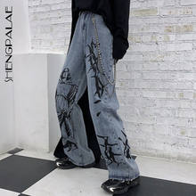 SHENGPALAE 2021 New Summer Fashion Ins Street Hip-hop stampa lavaggio Jeans pantaloni larghi in Denim Casual allentati marea donna ZA4395