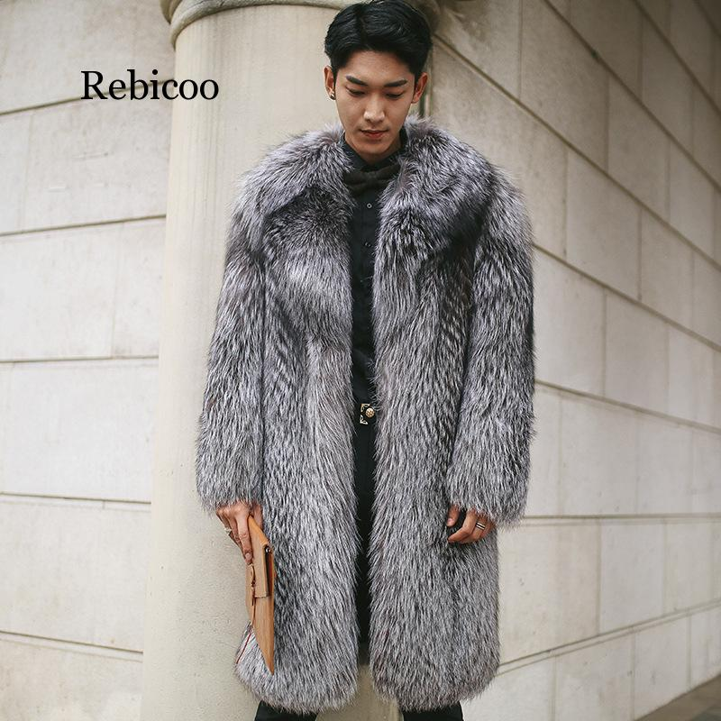 Mens Warm Plus Thickening Long Coat Jacket Faux Fur Coat Men Long Fox Fur Men's Fur Coat