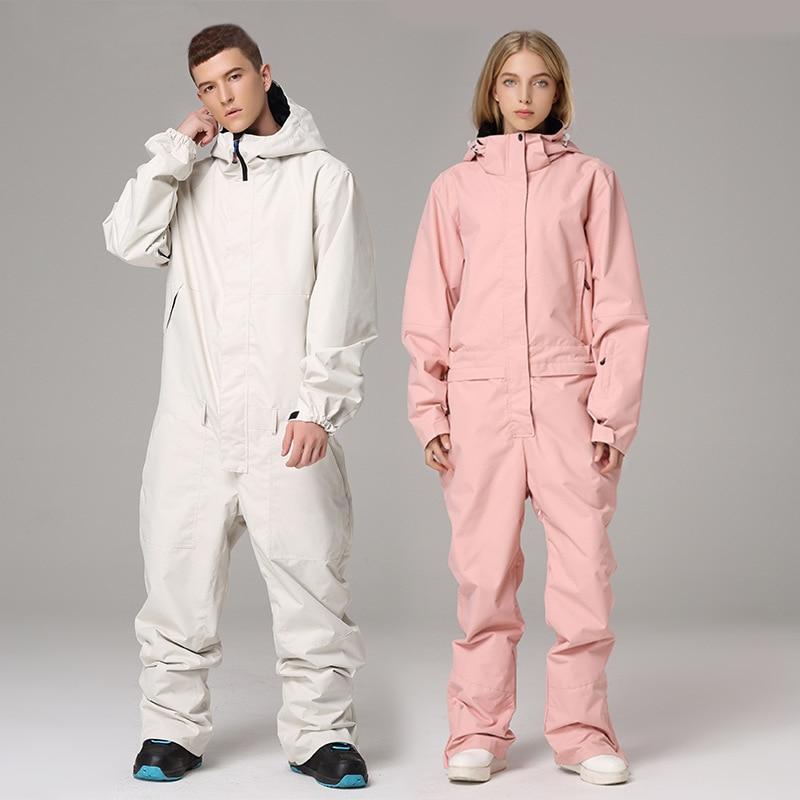 Women Ski Snowsuit Outdoor Sports Jumpsuit Cotton Hoodie Snowboard Suits