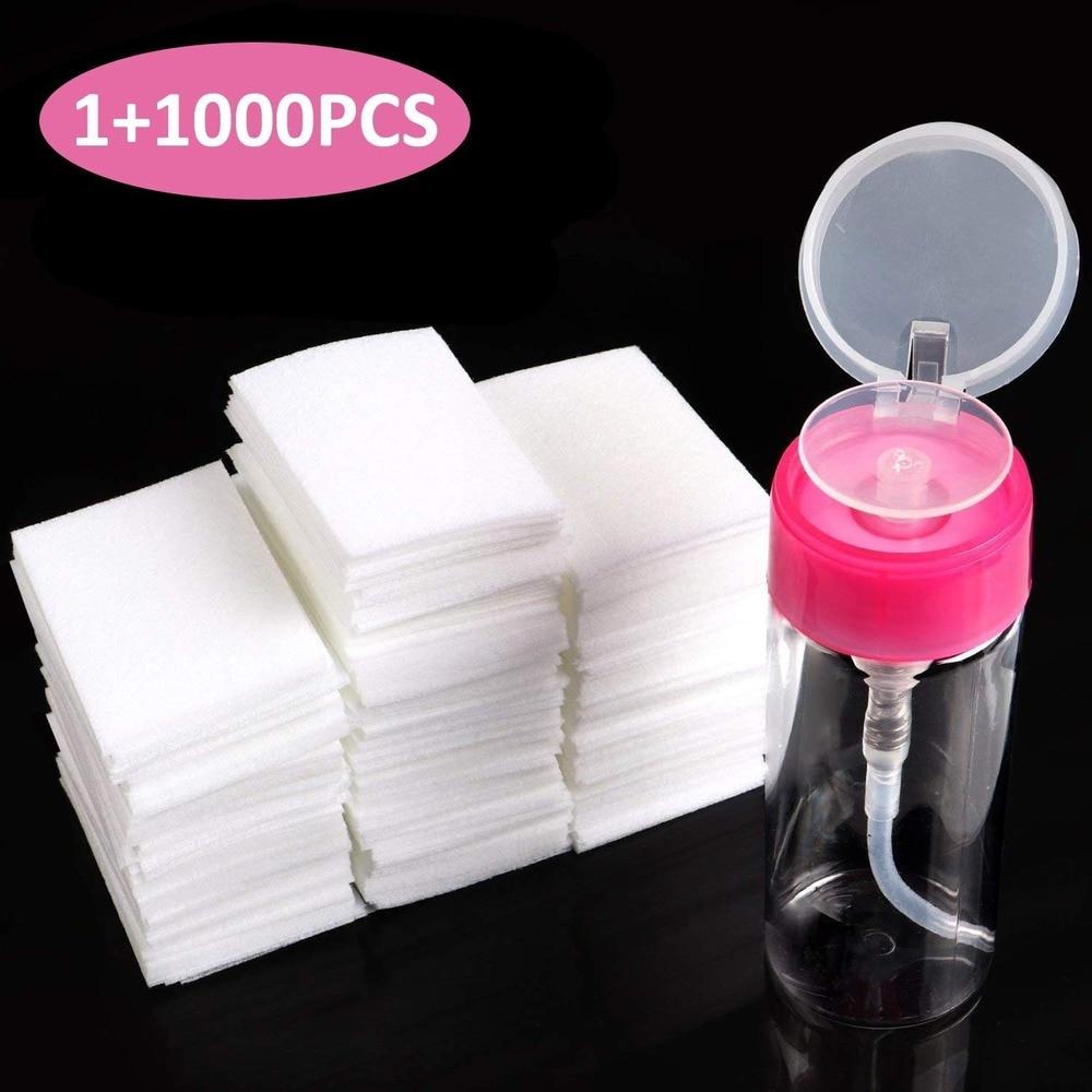 Набор для снятия лака для ногтей, 1000 шт., безворсовые салфетки для ногтей, ватные диски, 1 шт., диспенсер для насоса