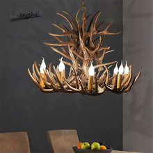 Nordic LED Ceiling Chandelier Resin Antlers LOFT Hanging Lamp Industrial Buck Deer Horn Chandelier Bedroom Living Room Kitchen