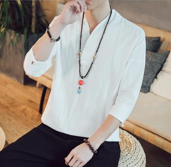 Sinicism Harajuku T Shirt Mens Fashion Summer Cotton And Linen Tshirts Male White Clothing