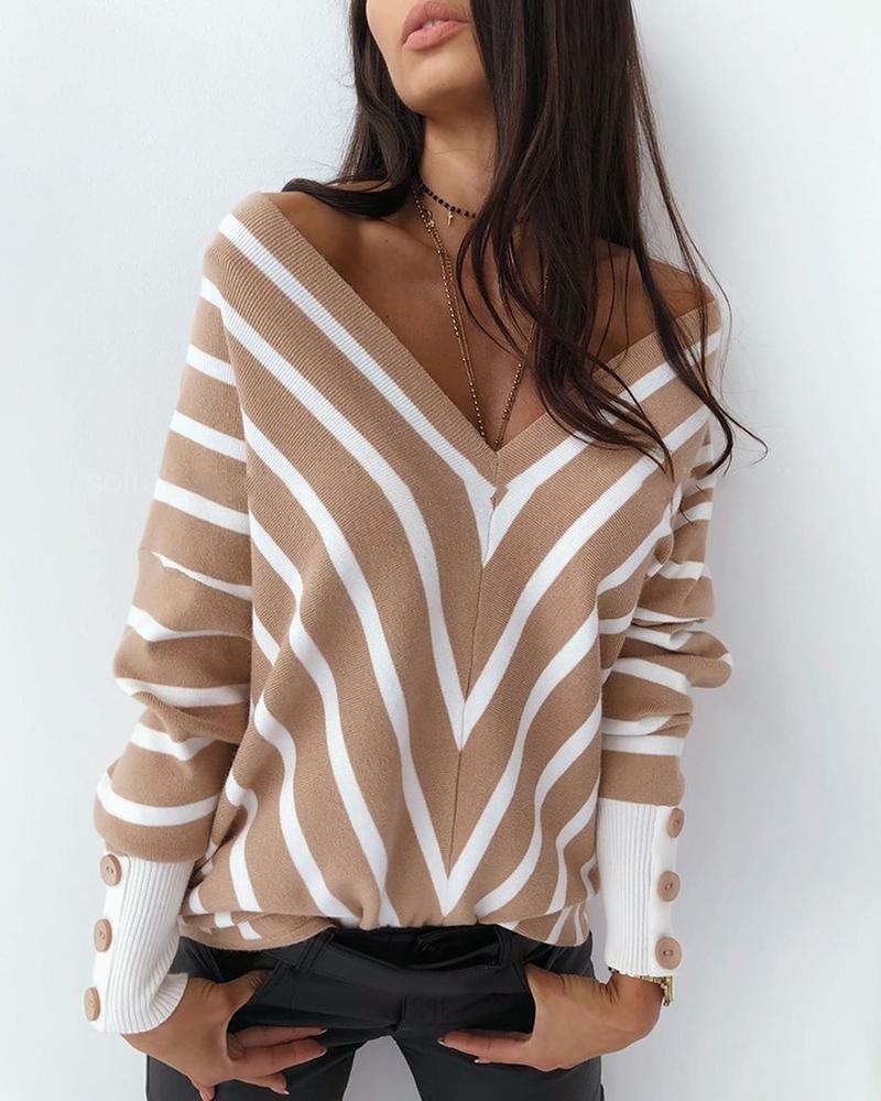 US $18.26 40% OFF V Neck Popper Cuff Striped Casual Sweater Pullovers  AliExpress