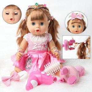 Кукла Bebe reborn, 18 дюймов, 46 см, водонепроницаемый силикон, реалистичное детское модное платье, сделай сам, длинные волосы, вьющиеся волосы, игру...