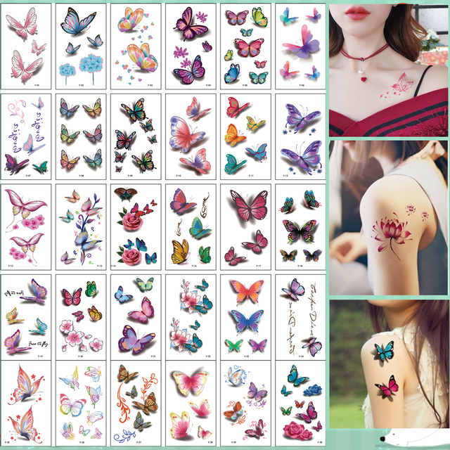 30Pcs/Set No Repeat Temporary Tattoo Stickers Waterproof Arm Clavicle Body Art Sticker Disposable butterfly tatouage temporaire