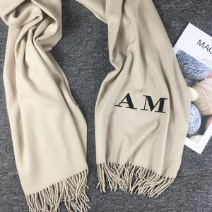 Image 4 - 20 Color Personalized Solid Tassel For Women Scarf Embroidery Custom Cashmere Winter Lady Girls Shawl Scarf Statement Gift