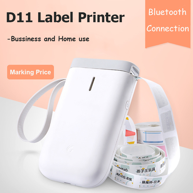 D11 Label Printer Portable Pocket Label Machine Price Sticker Portable BT Thermal Label Printer Home And Office Use USB Cable