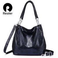REALER sacs à main en cuir véritable femme grand sac de messager femmes sacs à bandoulière mode haut pour femme-poignée sacs fourre-tout de haute qualité