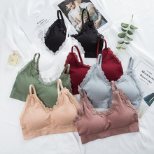 Sexy Lace Tank Top Women Crop Top Female Sports Top Seamless Underwear Sleeveless Women Cropped Camisole velevet lace trimmed cropped tank top