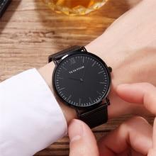 Men Watches Stainless Steel Belt Luxury Simple Dial Watch Men Waterproof Ultra-Thin Quartz Wrist Watch Black Relogio Masculino