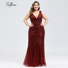 Sexy robe De noël femmes nouvelle élégante sirène col en V paillettes longues robes De fête grandes tailles moulante Vestidos De Festa Longo