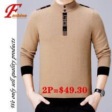 Высокая-класс новый мужской бизнес свободного покроя all-матч мягкие удобные дышащий мода без железа благородные 85%шерсть с длинным рукавом пуловер