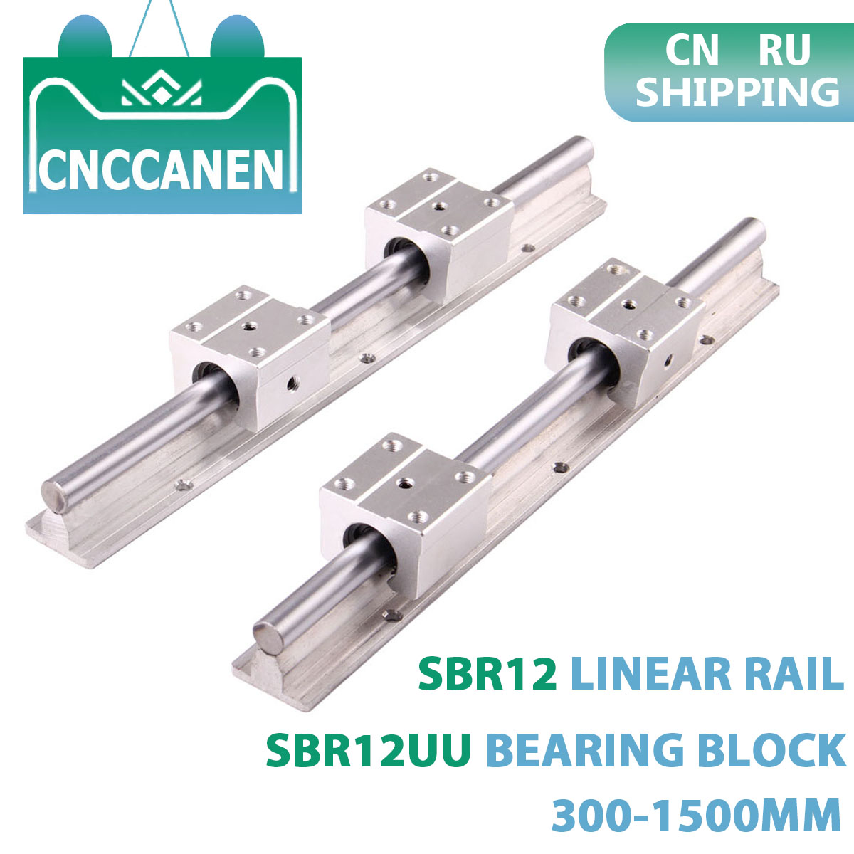 2PCS SBR12 12mm Linear Guide Rail Length 300 400 500 600 1000mm 1200 1300 1500mm With 4PCS SBR12UU Linear Bearing Block CNC Part