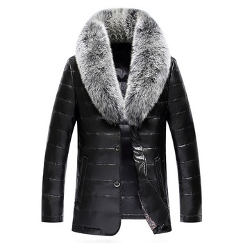 Winter New Big Real Fur Collar Veste Homme Cuir White Duck Down-padded Jaket Kulit Pria 10
