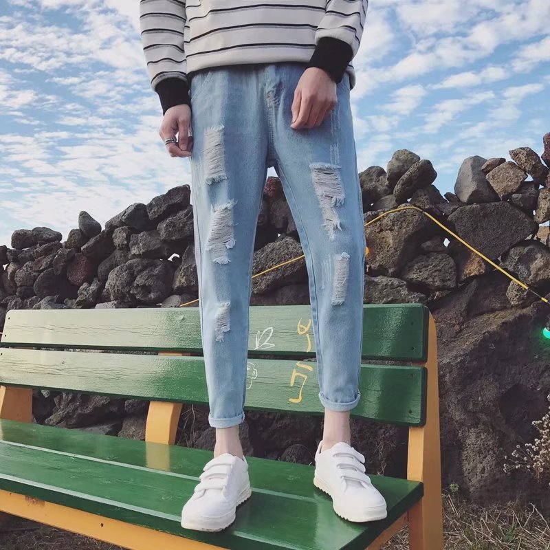 Summer Beggar Capri Pants Men's Slim Fit With Holes Jeans Men's Skinny Fashion 9 Points Tight Social Lively Fella Pants