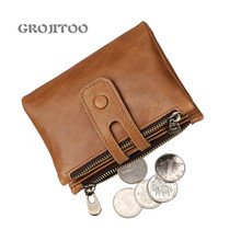 GROJITOO Genuine leather men's wallet anti-theft brush RFID first layer cowhide wallet Crazy Horse leather casual wallet