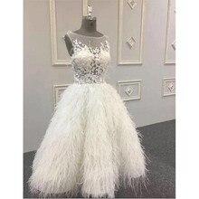 Luxury Saudi Arabic White Feather Prom Dresses 2020 Illusion