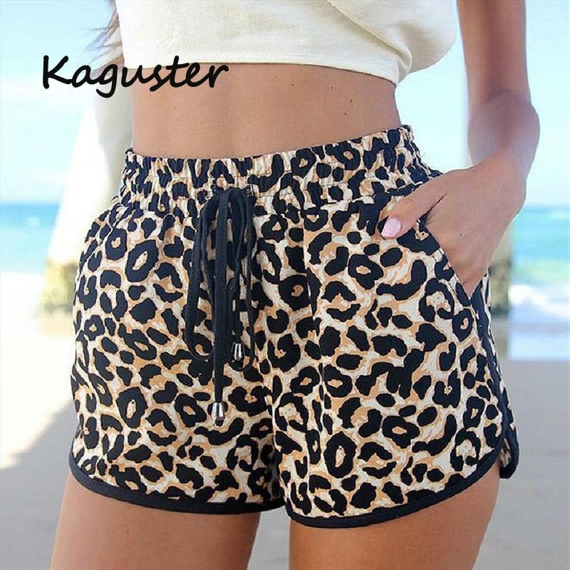 2020 Kaguster New Summer Hot Shorts Leopard Lace Up High Waist Elastic Cotton Short Women Beach Casual  Cheap Stuff