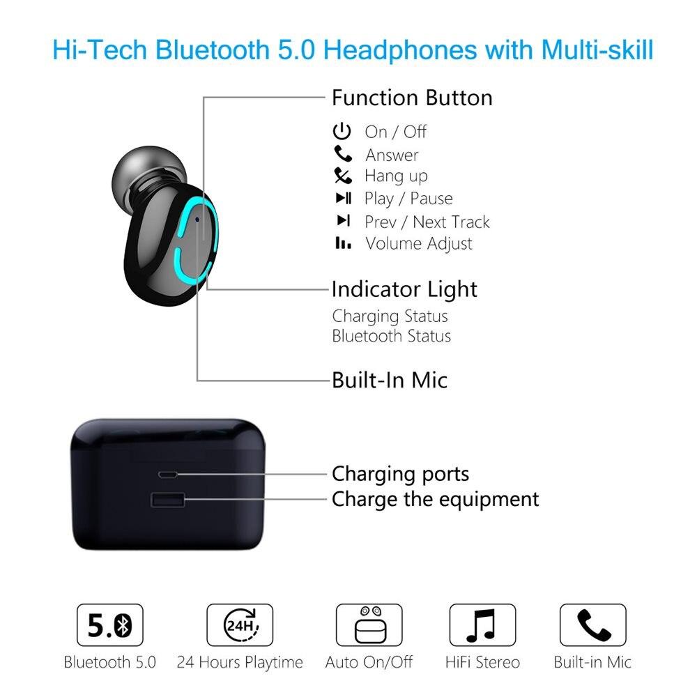 wireless earphones led power display 05