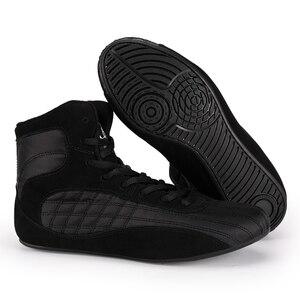 Zapatillas profesionales de cuero para hombre, zapatos de lucha para gimnasio, levantamiento de pesas, botas altas, comodidad, culturismo, boxeo, levantamiento de pesas