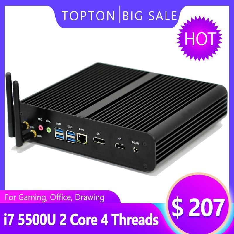 Cheap Windows 10 Pro Mini Fanless PC I7 5500U I5 5200U I3 5005U 2*Lans 2*HDMI 1Optical Barebone HTPC Game Computer Multimedia PC