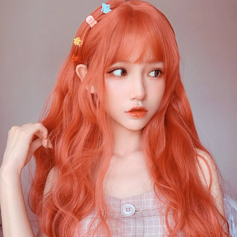 MUMUPI Lolita Orange Color Long Water Wave Hairstyle Wigs For Women Synthetic Hair High Temperature Fiber Average Size