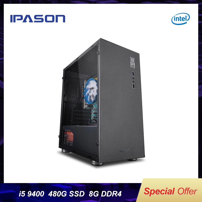 IPASON Official Devices I5 7500/8400 Upgrade 9400 9th Gen DDR4 8G RAM 480G SSD Desktop Home Office Computer For Designer  Set