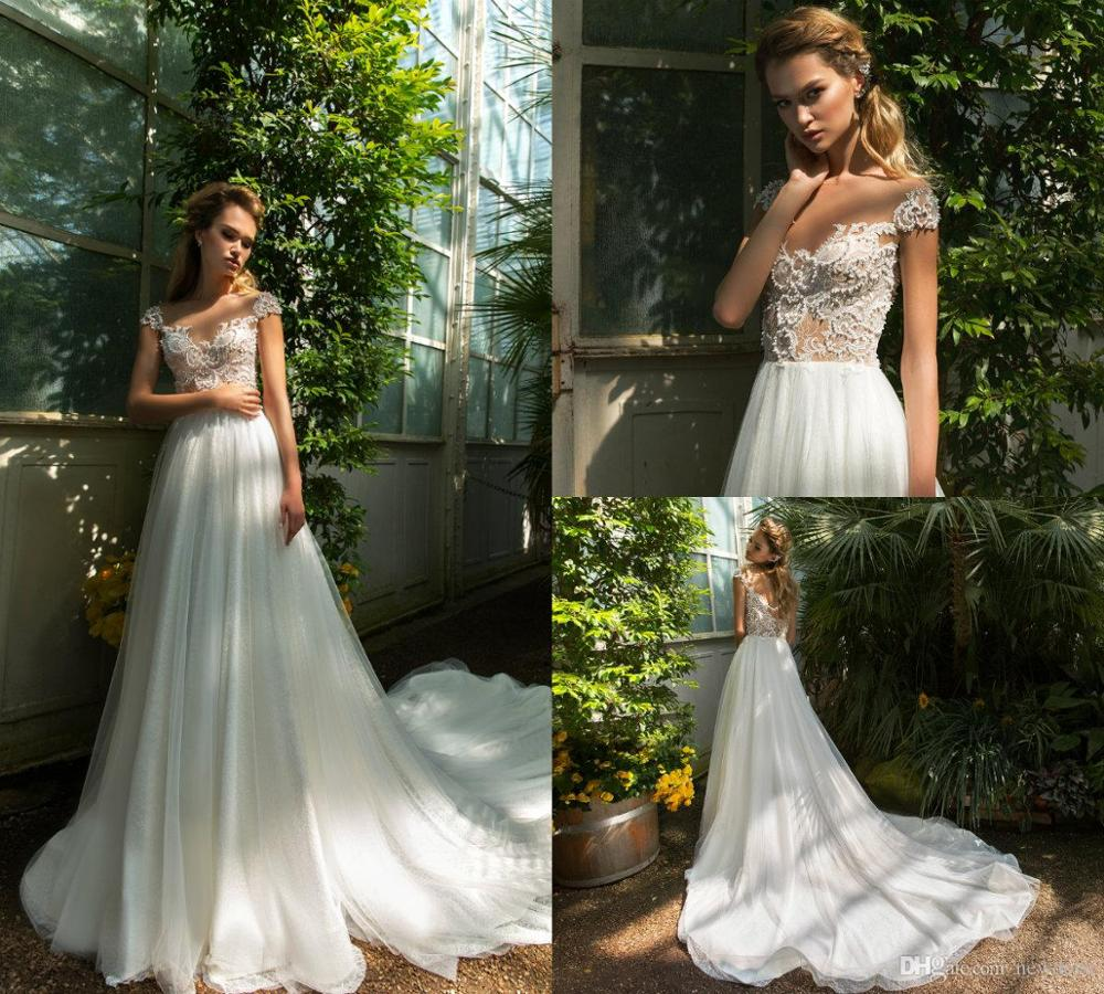 3D-Floral Appliques Wedding Dresses Beads Dimitrius A Line Poet Short Sleeve Bridal Gowns Jewel Sheer Neck Wedding Dress