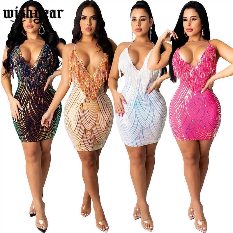 Women Stylish Spaghetti Strap V Neck Tassel Patchwork Bodycon Club Denim Dress