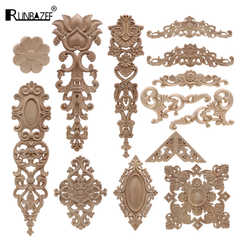 European Decoration Retro Natural Wood Applique Onlay Decal Rubber Figurines Floral Large Rose Crown Leaves Vintage Home Decor