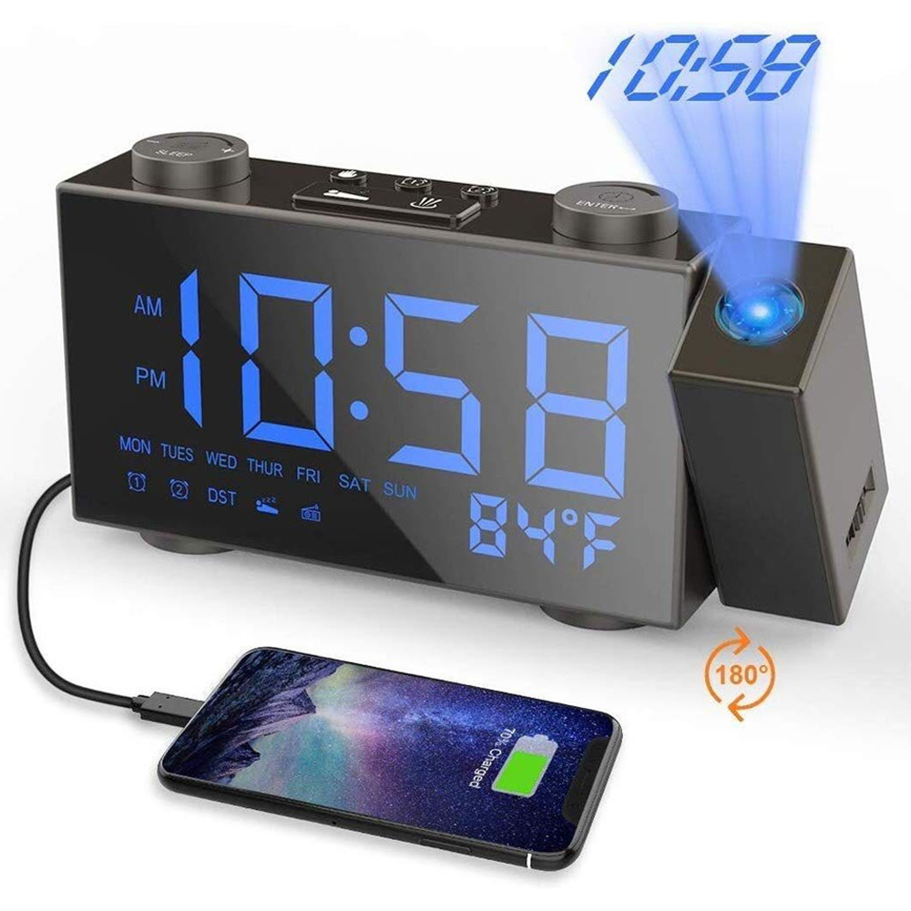 Digital bedside alarm clock projection clock with FM radio with indoor temperature display snooze setting with USB charging image