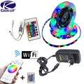 Luz de tira conduzida 2835 smd rgb fita 5 m 10 m 15 m 20 dc12v 3528 rgb flexível led faixa fita diodo + wifi 24key controlador + adaptador